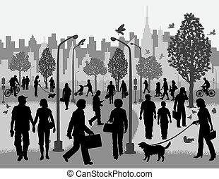 miasto park, codzienne ludzie