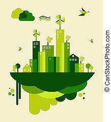miasto, pojęcie, zielony, ilustracja