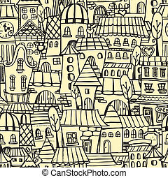 miasto, próbka, rysunek, seamless