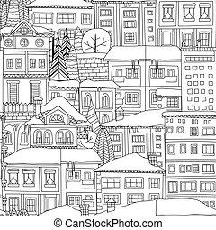 miasto, próbka, zima