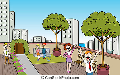 miasto, rooftop ogród