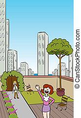 miasto, rooftop ogród, pionowy