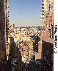 miasto, skwer, york, nowy, czasy