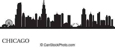 miasto skyline, sylwetka, tło, chicago