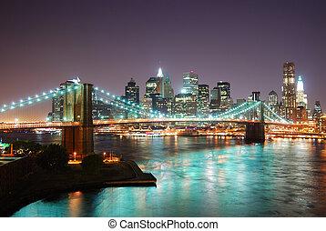 miasto skyline, york, nowy, noc
