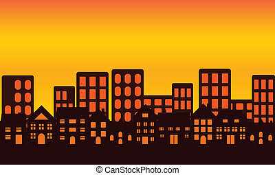 miasto skyline, zachód słońca