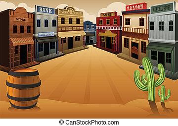 miasto, stary, western