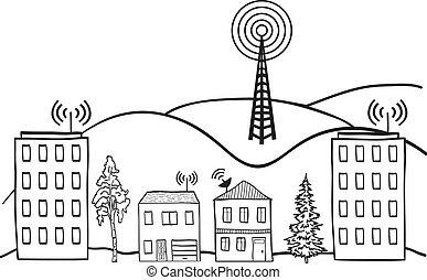 miasto, sygnał, ilustracja, radiowy, domy, internet