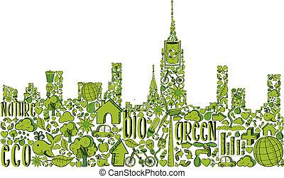miasto, sylwetka, zielony, środowiskowy, ikony