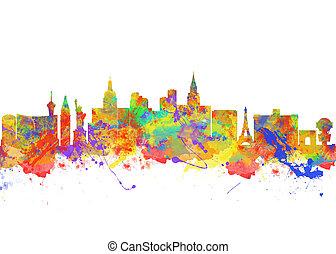 miasto, sztuka, usa, akwarela, sylwetka na tle nieba, vegas, druk, nevada, las