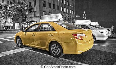 miasto, taksówka, ognisko, żółty, ruch, york, plama, nowy
