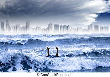 miasto, topienie, concept., globalny, woda, zburzony, pogoda, burza, ekstremum, ocieplać, człowiek