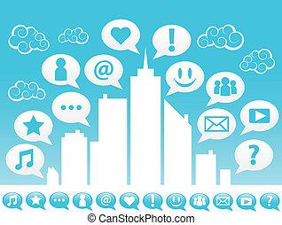 miasto, towarzyski, icons., media