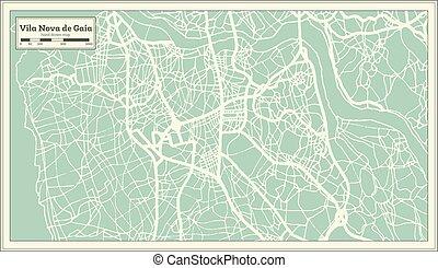 miasto, vila, portugalia, mapa, od, nova, retro, gaia, style.