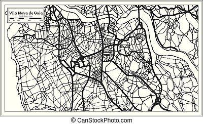 miasto, vila, szkic, portugalia, mapa, od, map., nova, retro, gaia, style.