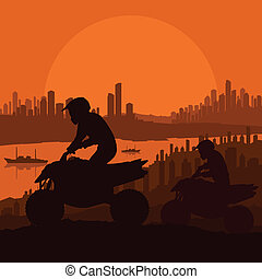 miasto, wszystko, motorower, teren, ilustracja, wektor, drapacz chmur, tło, pojazd, jeźdźcy, krajobraz