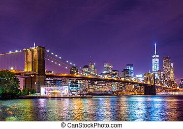 miasto, york, brooklyn, nowy, most