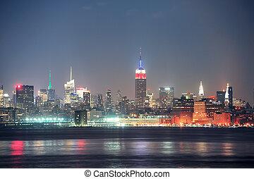 miasto, york, manhattan, nowy, noc