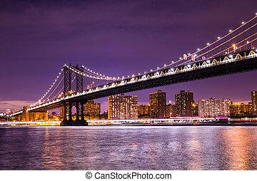 miasto, york, nowy, manhattan most