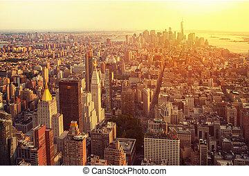 miasto, york, nowy, prospekt, manhattan skyline, antena