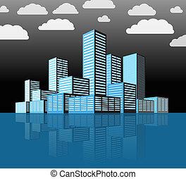 miasto, zabudowanie, nowoczesny, district., perspektywa