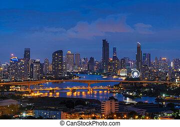 miasto, zabudowanie, phraya, bridge., chao, bangkok, 3, thailand., drapacz chmur, rzeka, noc, rama