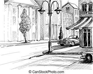 miasto, zabudowanie, wektor, stary, ilustracja, wozy, rys, styl, ołówek, papier, ulica, retro