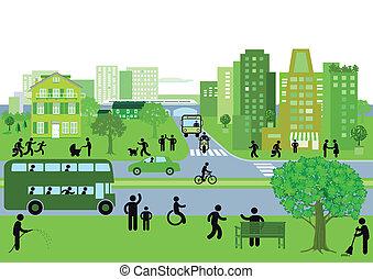 miasto, zielony