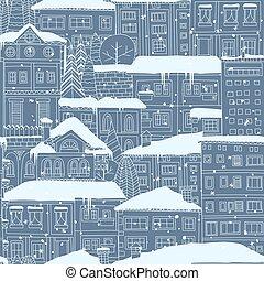 miasto, zima, pattern., seamless, doodled, snow., domy, drzewa, pokryty