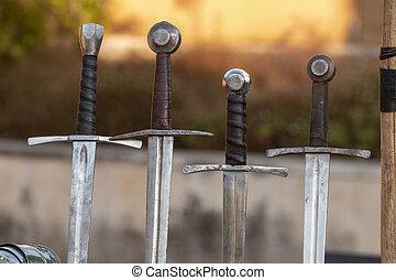 miecze, średniowieczny, szczegół