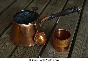 miedź, kawa wystawiają, drewniany, cookware, stół