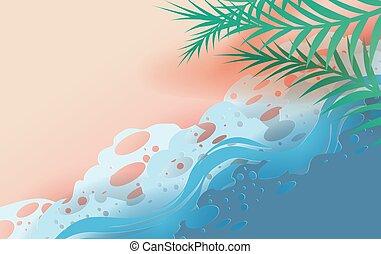 miejsce, liść, lato, sztuka, concept., prospekt, wektor, scena, górny, tropikalny, papier, craft., pora, projektować, cięty, plaża., tekst, seacoast., twój, ilustracja, morze, tło, fale, twórczy