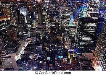 miejski, antena, miasto skyline, architektura, prospekt