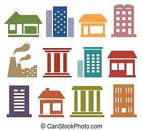 miejski, architektura, ikony