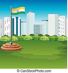 miejski, bandera, indianin, tło, trzepotliwy, rysunek