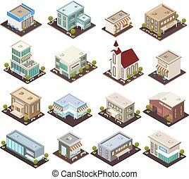 miejski, isometric, architektura, ikony