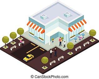 miejski, isometric, architektura, skład