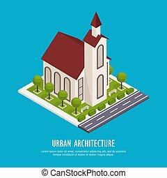 miejski, isometric, architektura, tło