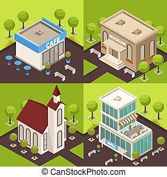 miejski, isometric, pojęcie, architektura