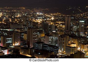 miejski, nowoczesny, miasto, noc