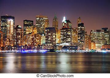 miejski skyline, miasto, noc