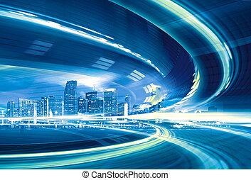 miejski, trails., barwny, miasto lekkie, abstrakcyjny, nowoczesny, śródmieście, ilustracja, ruch, chodzenie, szybkość, szosa