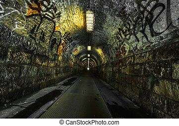 miejski, tunel, metro