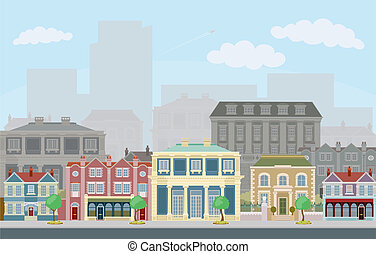 miejski, uliczna scena, mądry, townhouses
