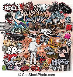 miejskie graffiti, elementy, sztuka