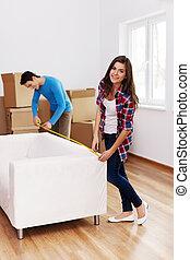 mierniczy, izba, sofa, para, młody, ich, nowy