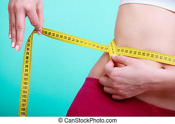 mierniczy, kobieta, jej, atak, stosowność, taśma, diet., miara, dziewczyna, talia