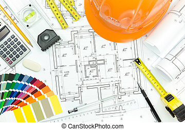 mierniczy, miejsce pracy, narzędzia, plan, hełm, inżynier