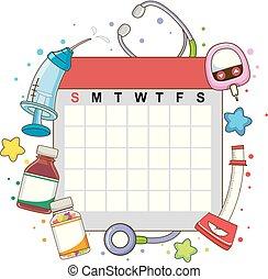 miesięcznik, kalendarz, czek, ilustracja, do góry