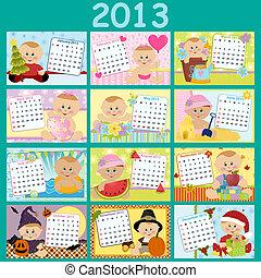 miesięcznik, kalendarz, niemowlę, 2013